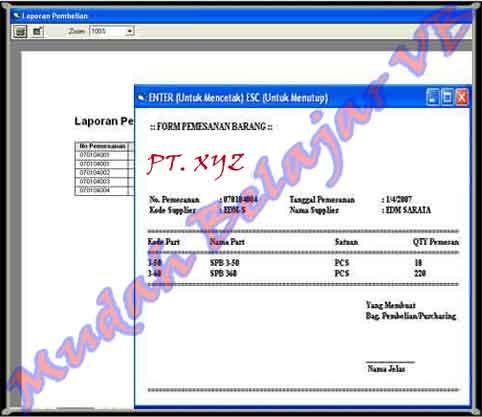 Tampilan Report SparePart n Form Pemesanan Barang